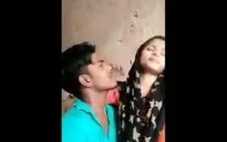 Desi college student Girlfriend vs BF, crestfallen kissing