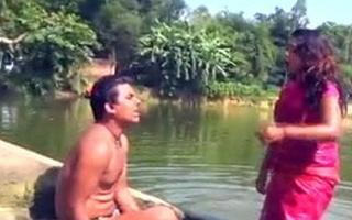 Wet saree at the lake