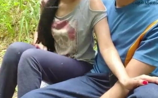 Indian outdoor college student sex in jungle