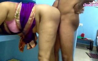 First Time Queen Sonali Has Tortured Sex In Blue Saree, cum on boobs