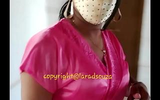 Indian sexy crossdresser Lara D'Souza near satin nighty 2