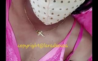 Indian crossdresser model Lara D'Souza in left side satin nighty