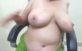 Anu Bhabhi milking her prominent tits like crazy during web camera fun