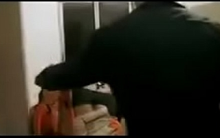 Hot desi bhabhi in black saree passionate sex in kithchen