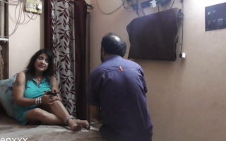 Hot Indian Lady boss having sex with innocent nokar! Hindi
