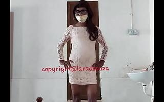 Indian sexy crossdresser Lara D'Souza in backless dress attaching 2