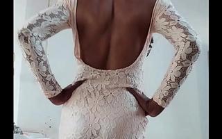 Indian sexy crossdresser Lara D'Souza bluntly bodycone clothes