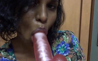indian babe lily gagging on dildo masturbation