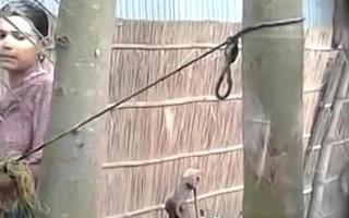 Village Bhabhi bathing in open Bath