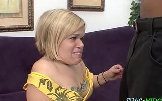 Blonde midget desires black dong