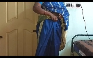 des indian horny cheating tamil telugu kannada malayalam hindi wife vanitha wearing downcast colour saree  uniformly big gut increased by shaved pussy press hard gut press nip rubbing pussy masturbation