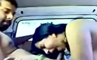 indian school trainer bonking in automobile in doggy let in underling to