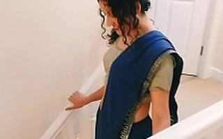 Desi juvenile bhabhi strips alien saree to please you Christmas existing POV Indian